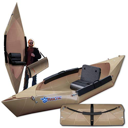 Tucktec Folding Kayak Tan 10 ft. Hard Shell Foldable Kayak. Stores Anywhere and Sets up in 2 Minutes. Fold up Portable Kayak fits in The Trunk of a car. No roof Rack No Storage (Tan)
