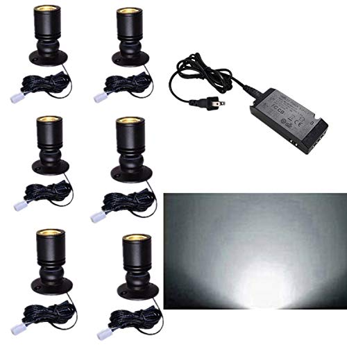 LED1.5W 12VDC Mini Spotlight kit - 100LM Mini spotlightJewelry Showcase Display Lighting,6000k White,for Jewelry Counter, Light Showcase Light, Counter Spotlight Set of 6