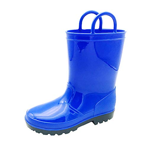 Kids & Toddler Rain Boots w/Handles in Bright Colors for Girls & Boys | Waterproof, Lightweight & Comfortable | Easy to Pull On & Slip Off | Deep Treads for ()