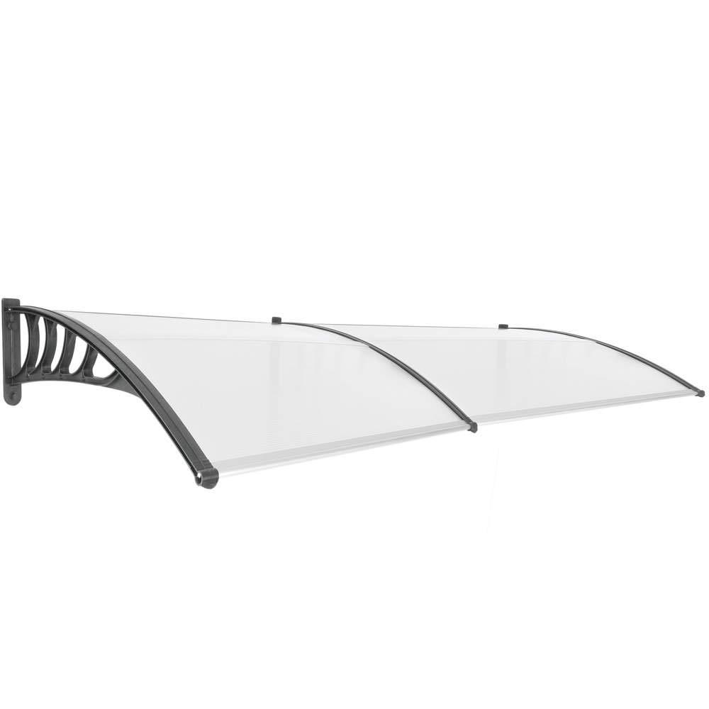 PrimeMatik - Canopy awning for door and window Patio cover shelter black 240x90cm PrimeMatik.com