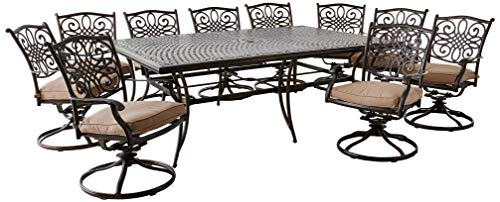 (Hanover TRADDN11PCSW10 Traditions 11-Piece Dining Set, Tan)