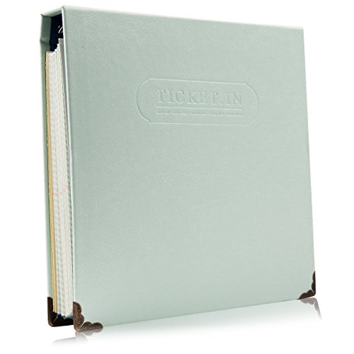Woodmin 120 Pockets Leather Ticket Album  Commemorative Paper Money Collect Book Banknote Currency Collection Album Cash Holders  Mint Green