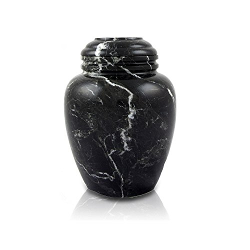Noire Marble Pet Memorial Urns - Extra Small - Holds Up to 20 Cubic Inches of Ashes - Noire Black Small Pet Cremation Urn - Engraving Sold Separately