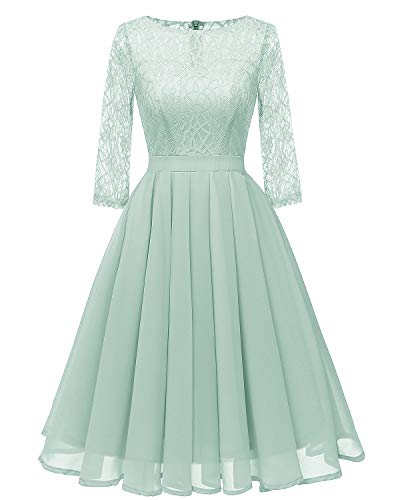 Women's Lace Midi Dress Sheer Long Sleeves Skirt A Line Chiffon Homecoming Dresses Sage Green XL ()