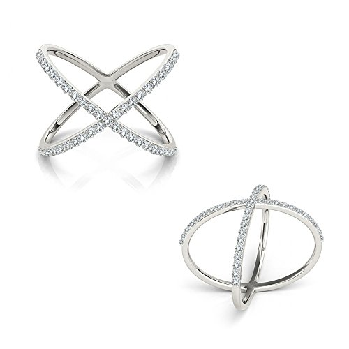 (0.50 Carat G-H Diamond Fancy Double Circle Engagement Wedding Bridal Women Ring 14K White Gold)