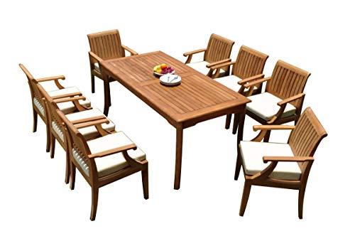 TeakStation 8 Seater Grade-A Teak Wood 9 Pc Dining Set: 71