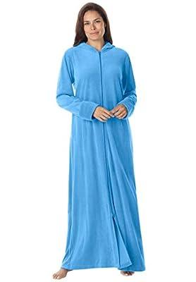 Dreams & Co. Women's Plus Size Long Hooded A-Line Velour Robe