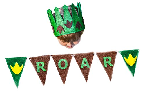 Up Themes Party Birthday Dress (Dinosaur Party Theme Set Boy Birthday Banner Crown Green Roar Party 2 3 4 5 6)