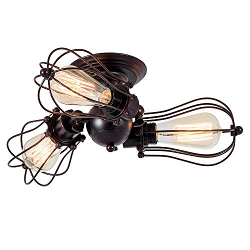 Luling Vintage Ceiling Light Industrial, Chandeliers Adjustable Socket Metal Wire Cage Lamp Semi-Flush Mount Rustic Ceiling Light Metal Lamp Fixtures (No Bulb) (with 3 Light) (Rust Color) (Rust)