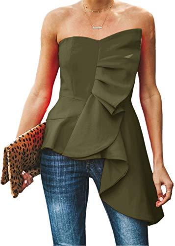 Jeanewpole1 Womens Sexy Off The Shoulder Crop Tops Asymmetrical Ruffle Blouse Shirt (XX-Large, Green)