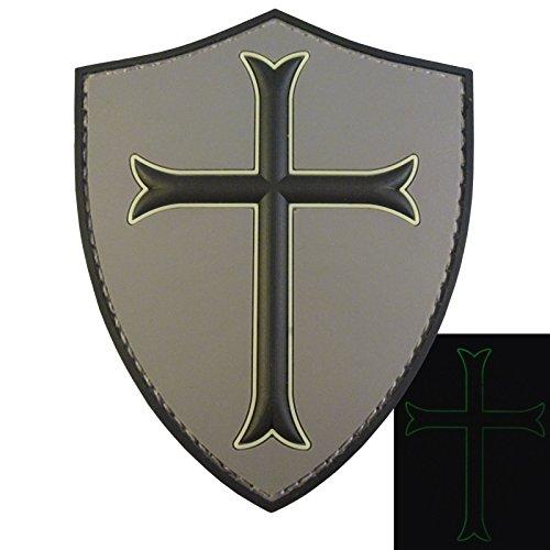 - LEGEEON ACU US Navy Seals DEVGRU Crusaders Templar Knight Cross GITD Morale PVC 3D Hook Loop Patch