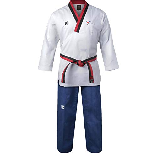 Mooto Korea Taekwondo Poomsae Uniform WT Logo Taebek Poom MMA Martial Arts Karate Judo Kick Boxing (130(Height:130~139cm)(4.27~4.56ft), 1. Male)