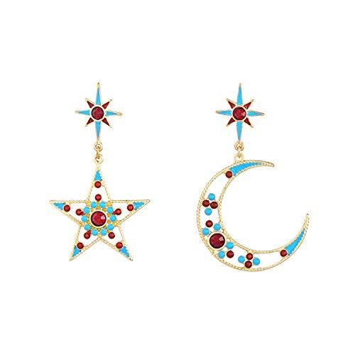 Feximzl Gold Plated Heavenly Body Asymmetrical Earrings Vintage Star Moon Design Crystal Drop Dangle Earrings for Women Statement Earrings (Design A) ()