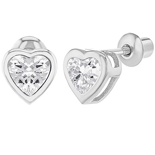 - Rhodium Plated Crystal Heart Safety Screw Back Earrings Toddlers Girls