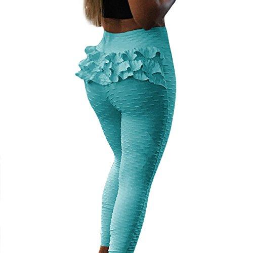 Courir Jambières Mode Femmes De Qhdz Yoga Contrôle Volants Ventre Jacquard Haute La Entraînement Taille Du Ciel Bleu wTq8xAqC