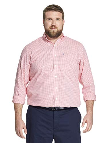 - IZOD Men's Big and Tall Button Down Long Sleeve Stretch Performance Gingham Shirt, rapture rose, 3X-Large Big