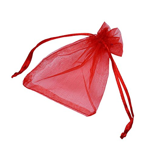 Candy Small Bag DZT1968® 100pcs Organza Wedding Party Decoration Gift Candy Sheer Bags Pouches (Red)