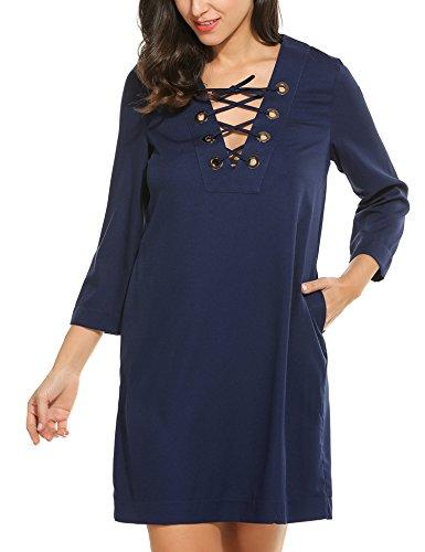 Zeagoo Women Summer 3/4 Sleeve Plus Size Dresses V Neck Casual Criss Cross Tshirt Dress (Form Dress Small Singer)