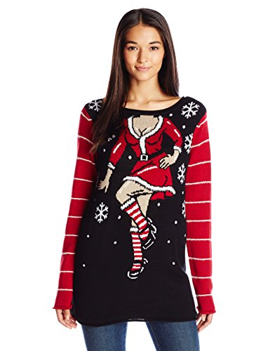 Ugly Christmas Sweater Company Women's Sexy Santa Helper, Black, L -