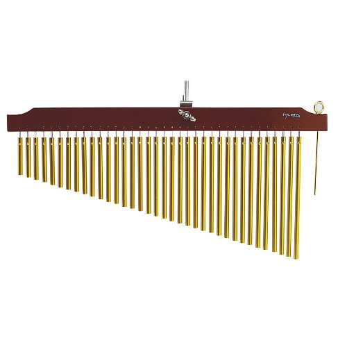 Tycoon Percussion 36 Gold Chimes With  Brown Finish Wood Bar by Tycoon Percussion