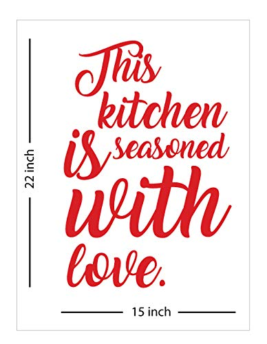 Fabulous Décor: THIS KITCHEN IS SEASONED WITH LOVE Decal Inspirational Vinyl Sticker Wall art Positive Lifestyle Quote living room, home improvement, health, fitness, office, kitchen 15Wx22H (Red)