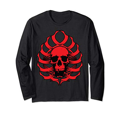 - Skull-Ribcage Tribal (RED) Long Sleeve