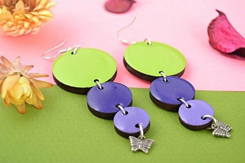 Carved Ring Designer (Handmade Designer Long Dangle Wooden Earrings With Epoxy Resin Green And Blue)