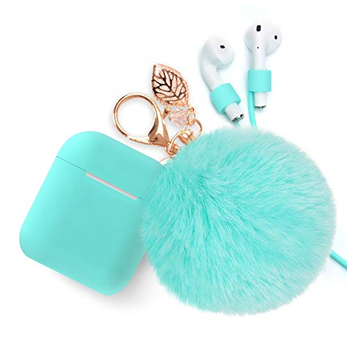 Airpods Case Keychain, BLUEWIND AirPod Charging Protective Case, Portable Carrying Earpods Case with Strap, Keychain, Soft Fluffy Ball, Compatible with Apple AirPods 1&2 Bluetooth Earphone, Mint Green