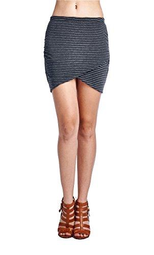 - LaClef Women's Slim Fit Stretch Layered Knit Draped Tulip Ruched Mini Skirt (X-Large, Black/Grey Stripe)