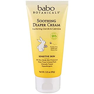 Babo Botanicals Soothing Diaper Cream, 3 Ounce - Natural Zinc, Sensitive Skin, Best Natural Diaper Rash Cream - Pack of 2