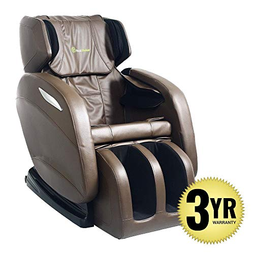 (2019 Full Body Massage Chair + 3yr Warranty. Electric Zero Gravity, Foot Roller, Shiatsu Recliner with Heat and Audio. Newest Real Relax Model (Brown))
