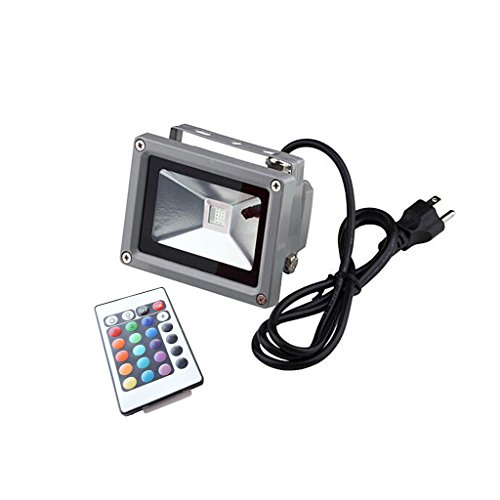 AspenTek 10w RGB Color Changing Waterproof Led Flood Light with Wireless Controller and US Plug, Ac85v~265v , Ideal for Outdooring Using/900 lumens