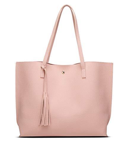 Jeniulet Tote Bag for Womens Purses Women Leather Handbags Satchel Shoulder Bags with Zipper for Ladies (Pink5)