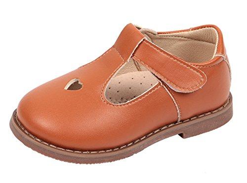 WUIWUIYU Girls' Oxfords Shoes T-Strap Casual Walking School Uniform Dress Princess Mary Jane Flats Brown - Dark Mary Brown Jane