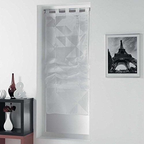 Paris Prix - Store Voilage galbiano 60x180cm Blanc