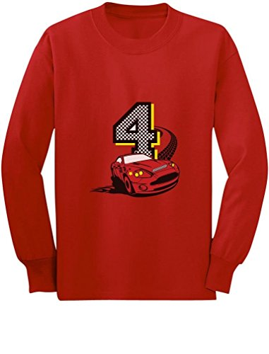 4th Birthday 4 Year Old Boy Race Car Party Toddler/Kids Long Sleeve T-Shirt 5/6 Red - Race Infant Sleeve Boys Long