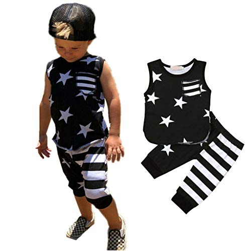 Packers Green Tie Striped Bay - 2Piece Toddler Baby Boys Outfits Set, Sleeveless Star Striped Pocket Vest Tanks Top Pants Suit 6M-3Y, Fashion Style Outfits Black