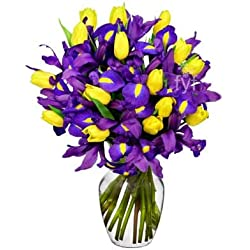 From You Flowers - Sunny Tulip and Iris Bouquet for Valentine's Day (Free Vase Included)
