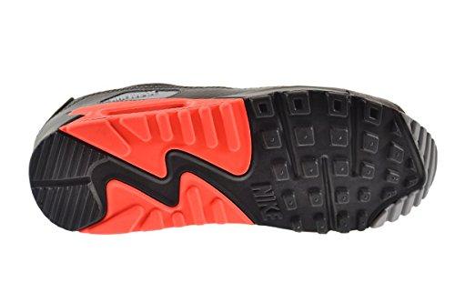Nike Air Max 90 Leather Men\u0026#39;s Shoes Black/Black-Medium Ash-Total Crimson 652980-002 (8 D(M) US)