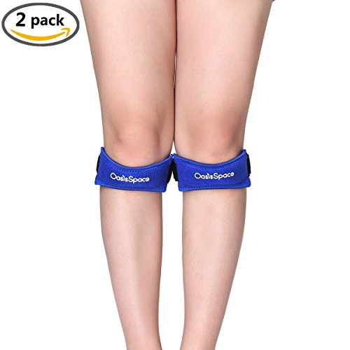 2 Pack Patella Stabilizer Knee Strap Brace Support and Knee Pain Relief for Running, Jumping, Hiking, Soccer, Basketball, Volleyball & Squats, Silicone Knee Protection Pad (Blue)