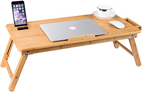 Laptop Desk, NNEWVANTE Bamboo Laptop Table Adjustable Lap Tray Large Size Bed Serving Tray Breakfast Table Foldable Notebook Computer Desk Great Heat Dissipation [2 USB Fans] Right-Left Hand Design