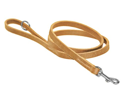 Dean & Tyler No Nonsense Dog Leash with Full Grain Leather and Stainless Steel Hardware, 6-Feet by 1/2-Inch, Tan by Dean & Tyler