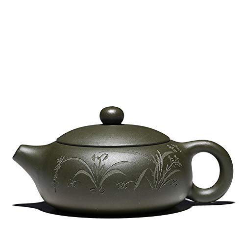 Teapot Yixing Zisha Pot Raw Ore Green Mud Flat Pot Hand-painted Orchid Small Teapot Home Teapot Classic Tea Set (Color : Plain face)