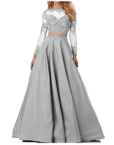 Udresses Long Lace Homecoming Dresses Two Pieces Beaded Prom Party Gown UX035L Silver 2