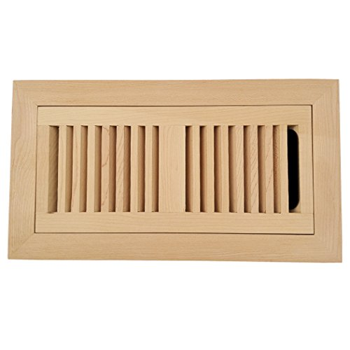 Homewell Maple Wood Floor Register, Flush Mount Vent With Damper, 4x10 Inch, Unfinished