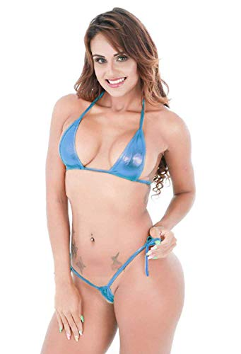EVAbaby Women's Halterneck Micro Thong Bikini 2 Piece Swimsuit Mini Tie Side PU Leather Sexy Extreme Swimwear Clubwear (Blue)