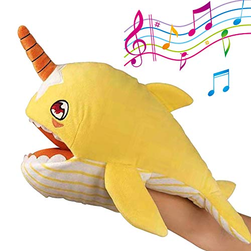 (Hand Puppets,14 Inches Sing Plush Shark Baby Toys Stuffed Animal Moving Mouth Baby Narwhal Interactive Preschool Learning Toys for Boys and Girls(Baby Yellow Shark))
