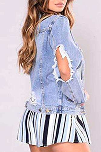 Denim Ragazza Bavero Donna Lunghe Blau Autunno Giacca Cavo Maniche Jeans Ragazze Relaxed Rinalay Casual Fashion Giacche Jacket Tendenza pFw6qx8x