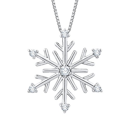 KATARINA Diamond Snow Flake Pendant Necklace in 10K White Gold (1/10 cttw, Color GH, Clarity I2-I3)