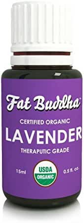 Organic Lavender Essential Oil from Fat Buddha, USDA Certified, 100% Pure Therapeutic Grade, Improve Sleep, Reduce Stress, Heal Bruises, Sustainably Sourced, Small Batch Produced - 15ml